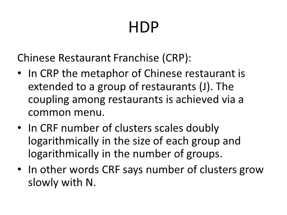 HDP Chinese Restaurant Franchise (CRP):