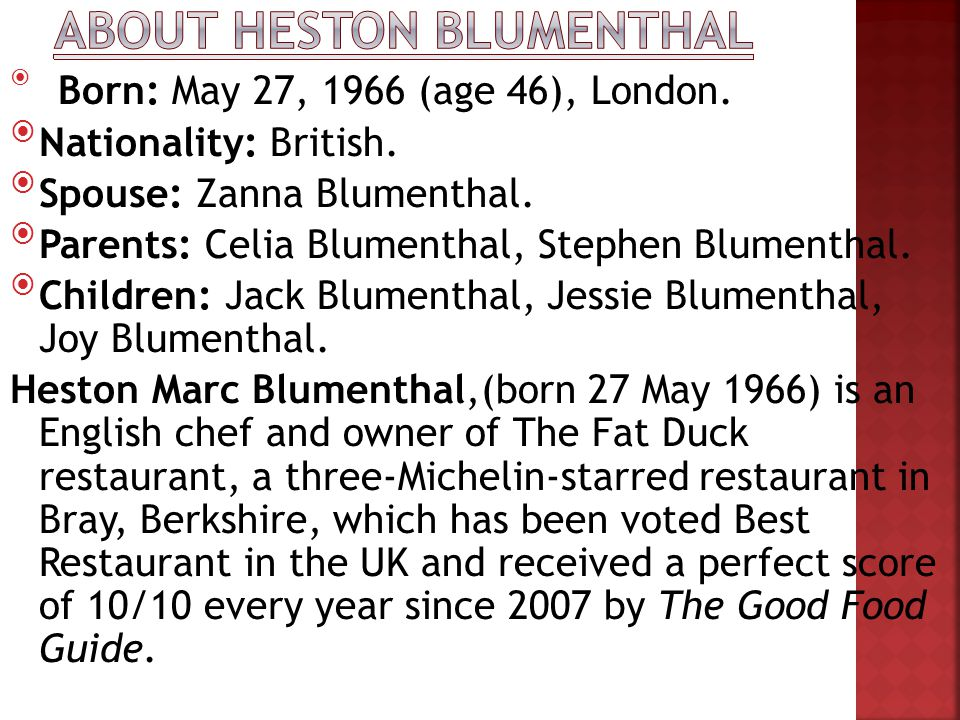 About Heston Blumenthal