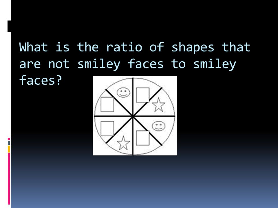 What is the ratio of shapes that are not smiley faces to smiley faces