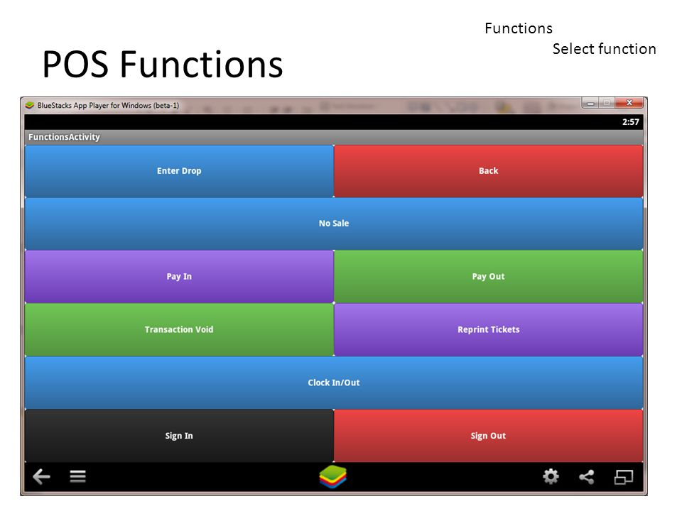 Functions Select function POS Functions