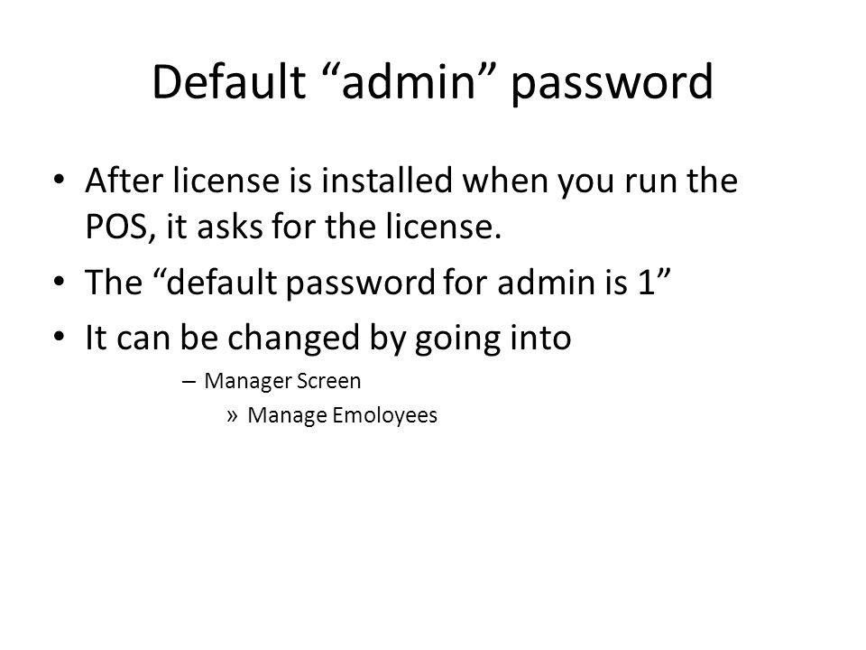 Default admin password