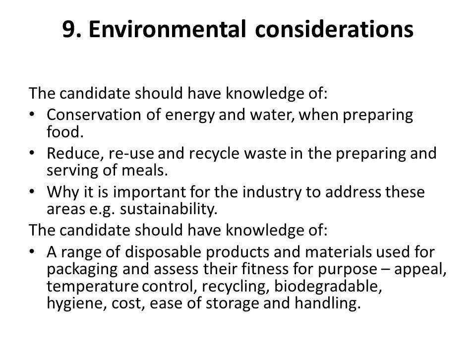 9. Environmental considerations