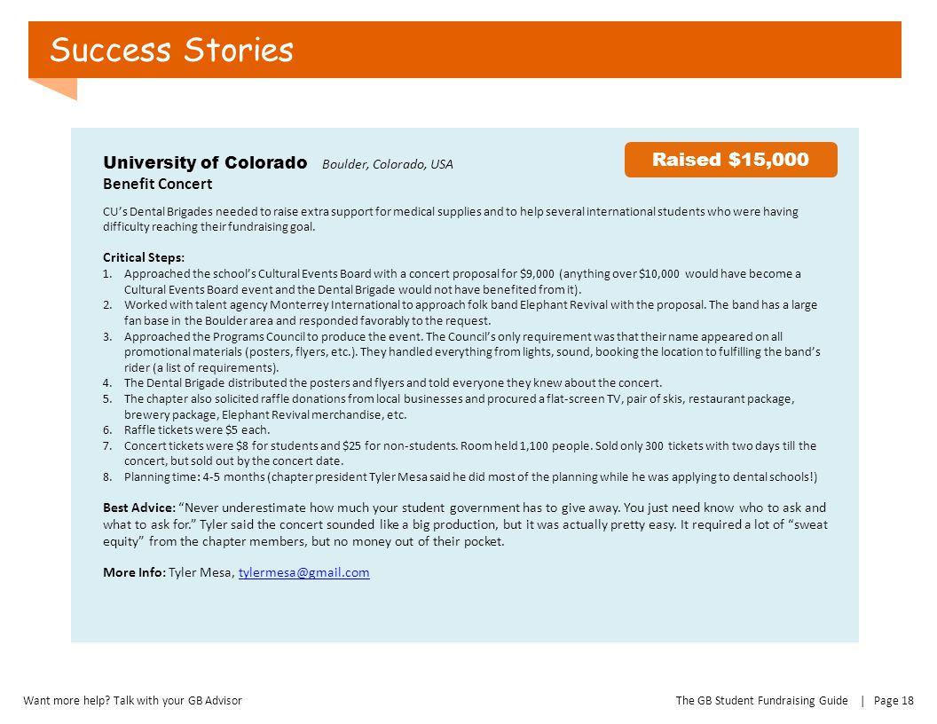 Success Stories Raised $15,000