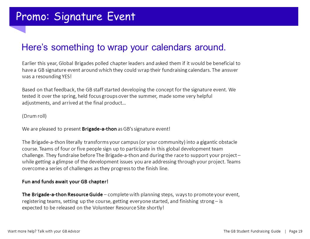 Promo: Signature Event
