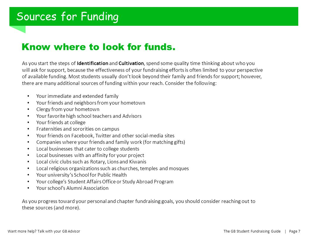 Sources for Funding Know where to look for funds.