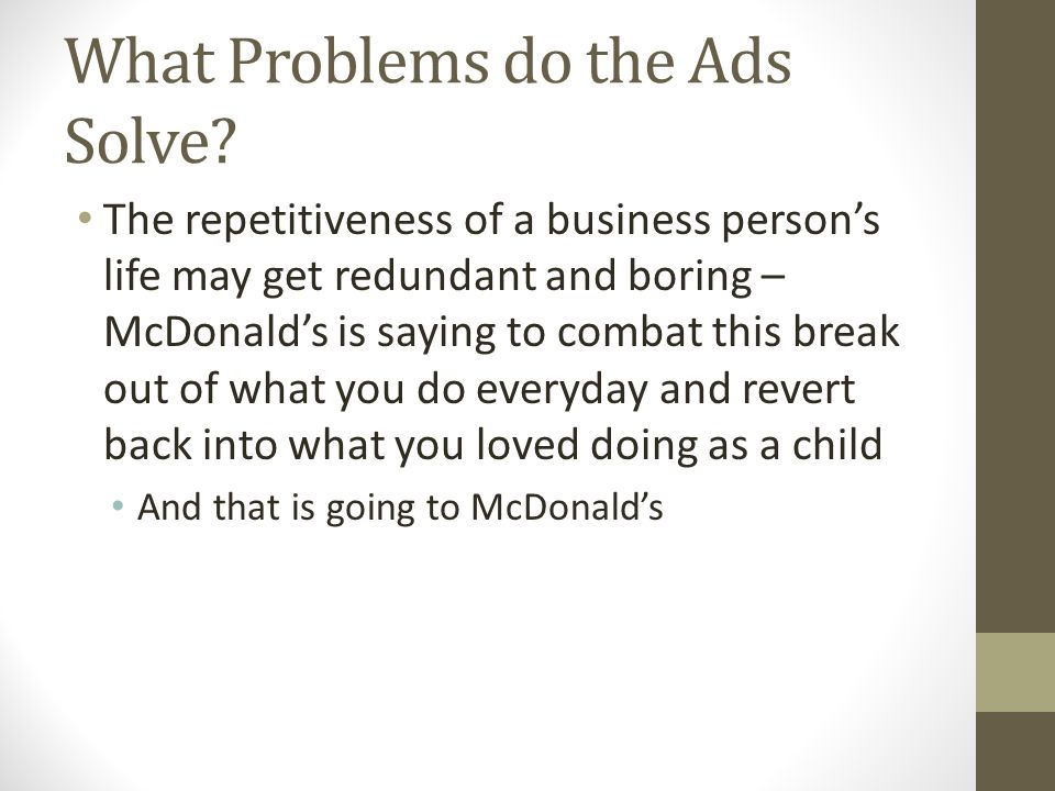 What Problems do the Ads Solve