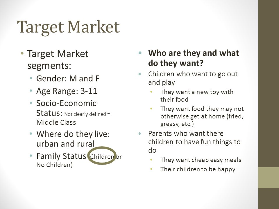 Target market examples for food