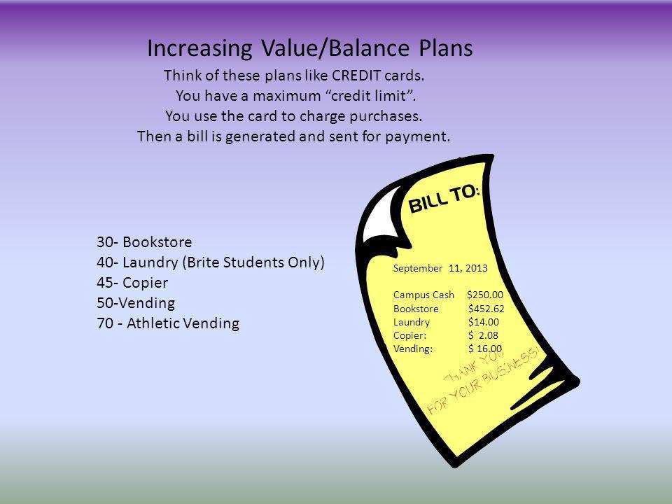 Increasing Value/Balance Plans