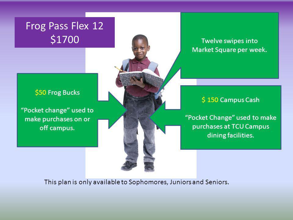 Frog Pass Flex 12 $1700 Twelve swipes into Market Square per week.
