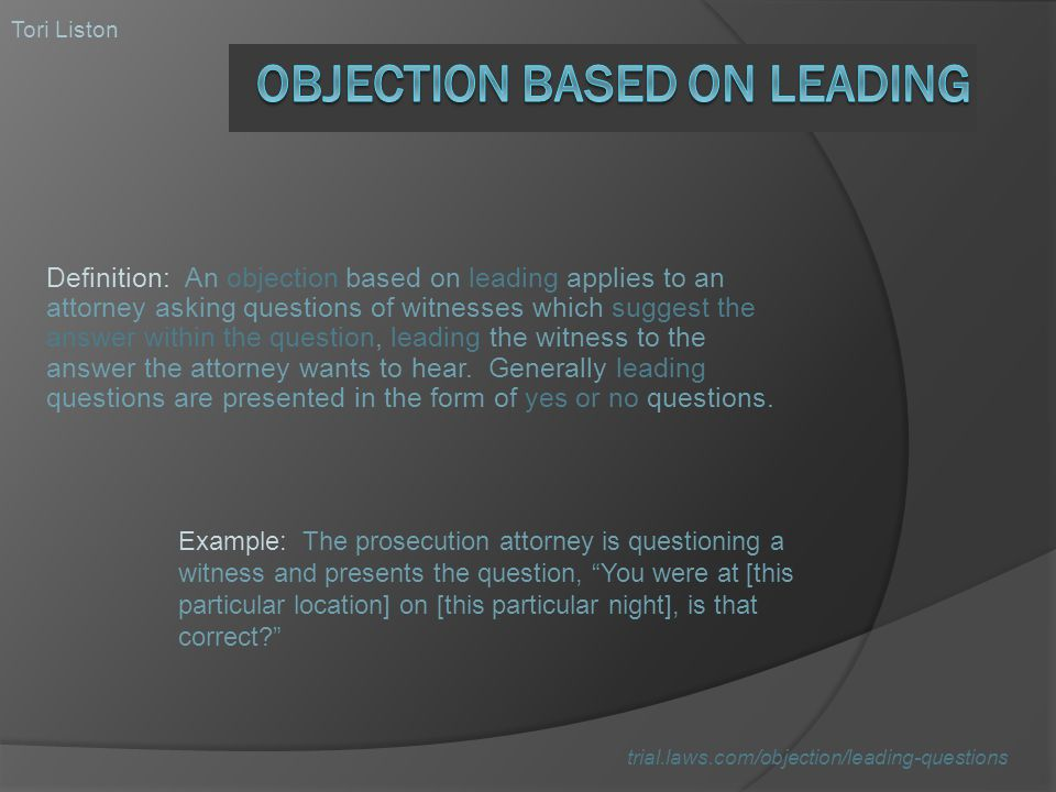 Objection Based on Leading