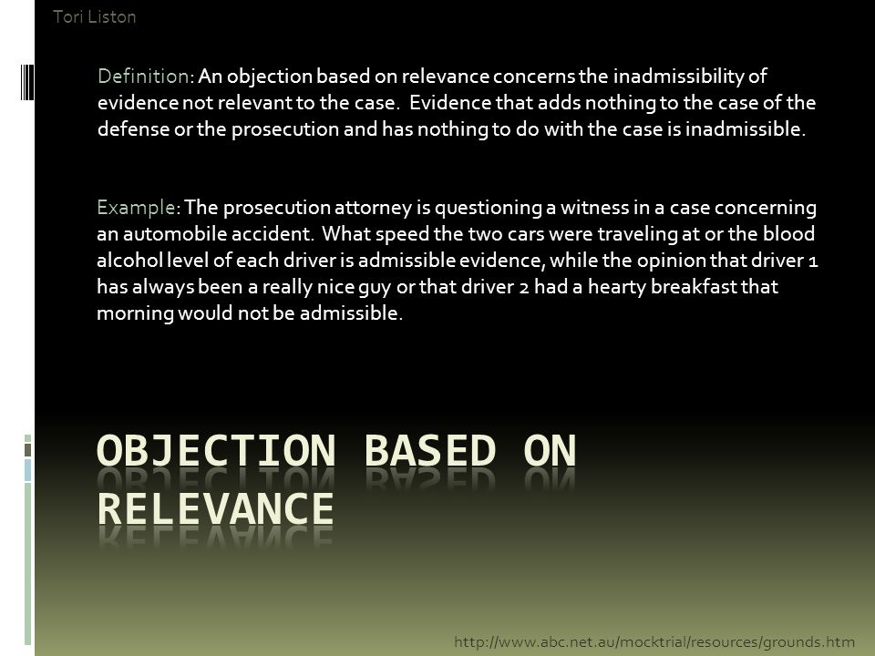 Objection based on relevance