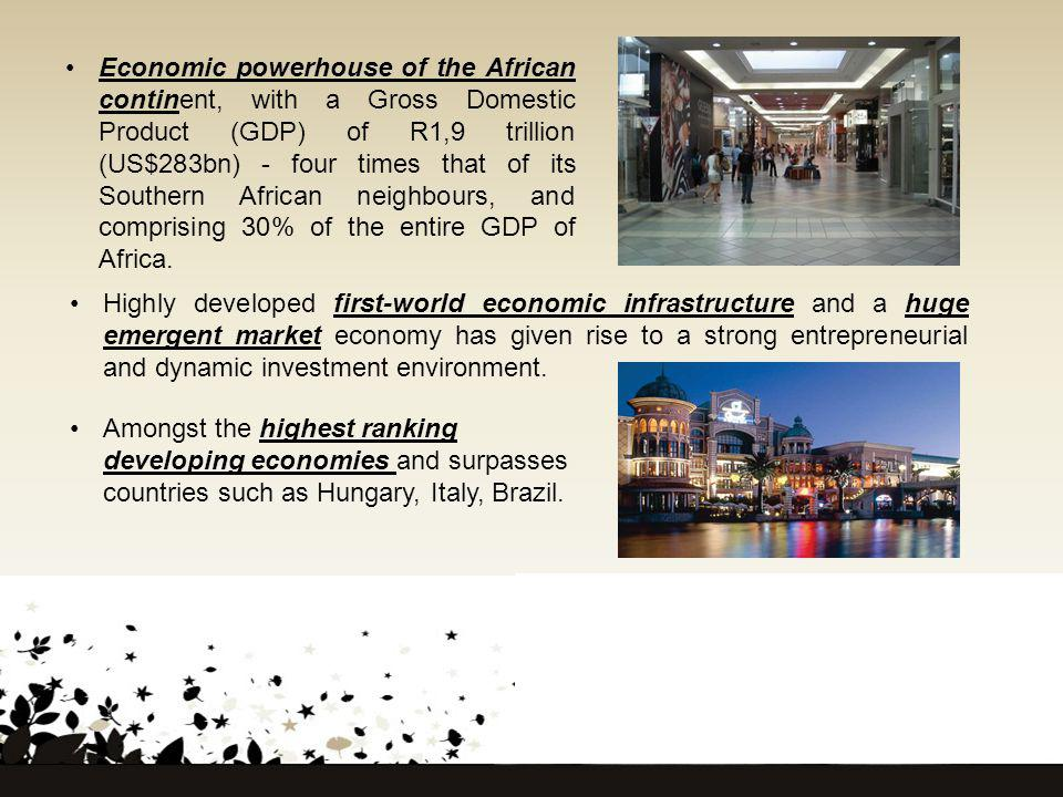 Economic powerhouse of the African continent, with a Gross Domestic Product (GDP) of R1,9 trillion (US$283bn) - four times that of its Southern African neighbours, and comprising 30% of the entire GDP of Africa.