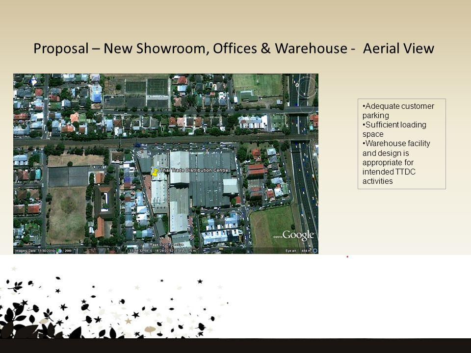 Proposal – New Showroom, Offices & Warehouse - Aerial View