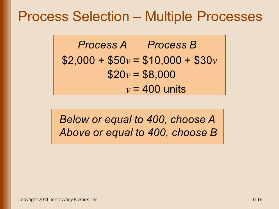 Process Selection – Multiple Processes