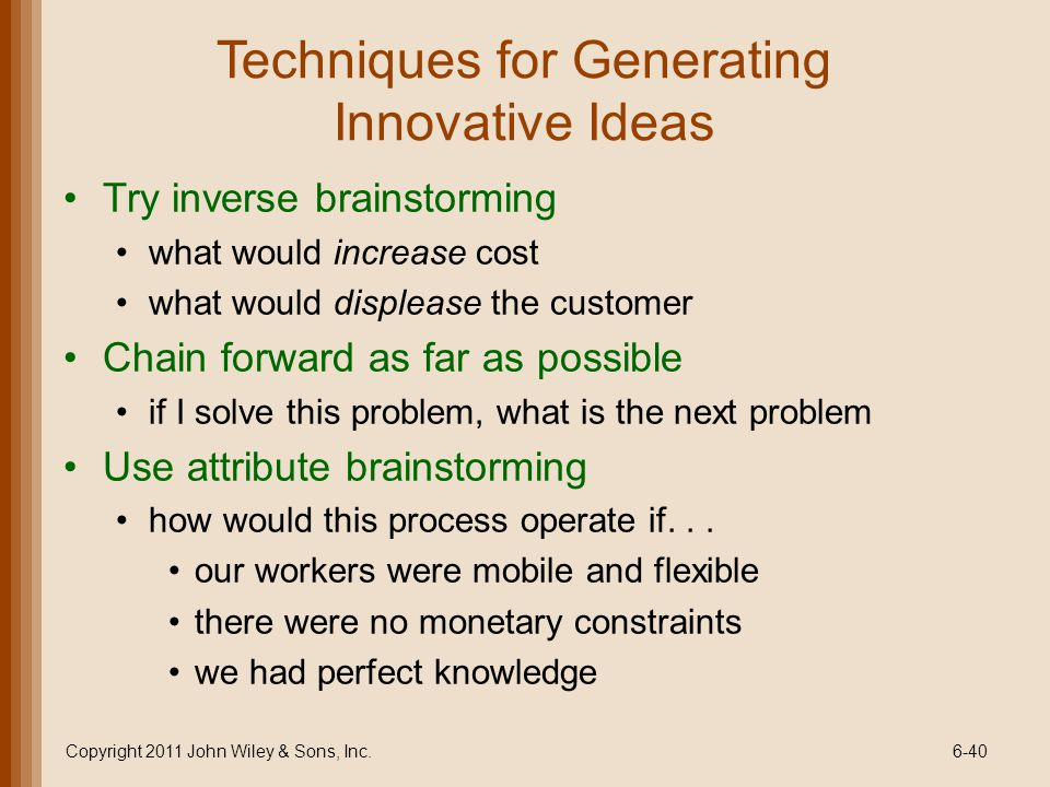 Techniques for Generating Innovative Ideas