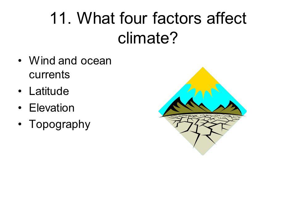 11. What four factors affect climate