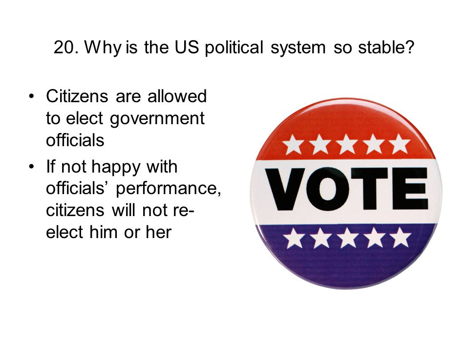 20. Why is the US political system so stable