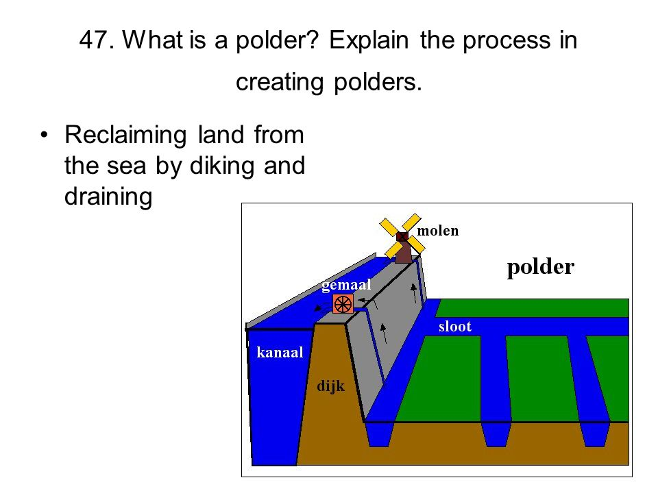 47. What is a polder Explain the process in creating polders.