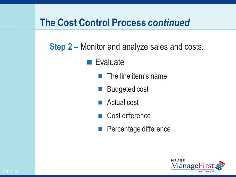The Cost Control Process continued