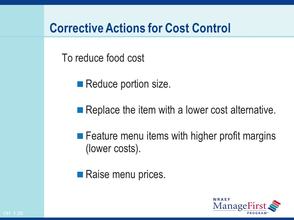 Corrective Actions for Cost Control