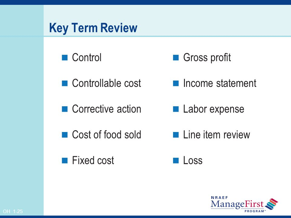 Key Term Review Control Controllable cost Corrective action