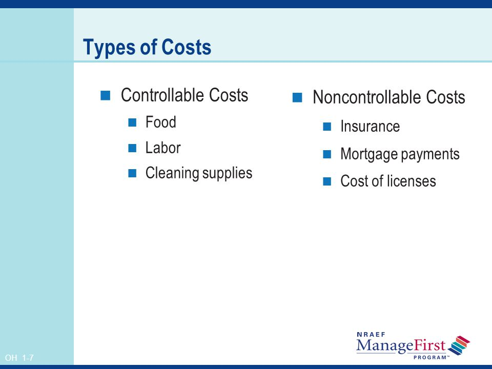 Types of Costs Controllable Costs Noncontrollable Costs Food Insurance