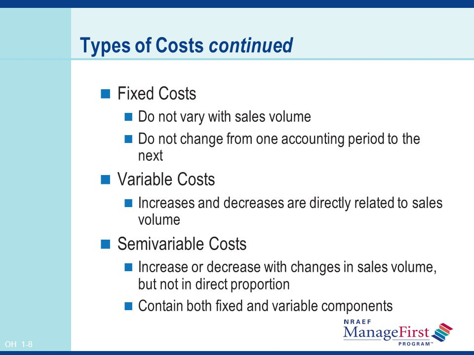 Types of Costs continued