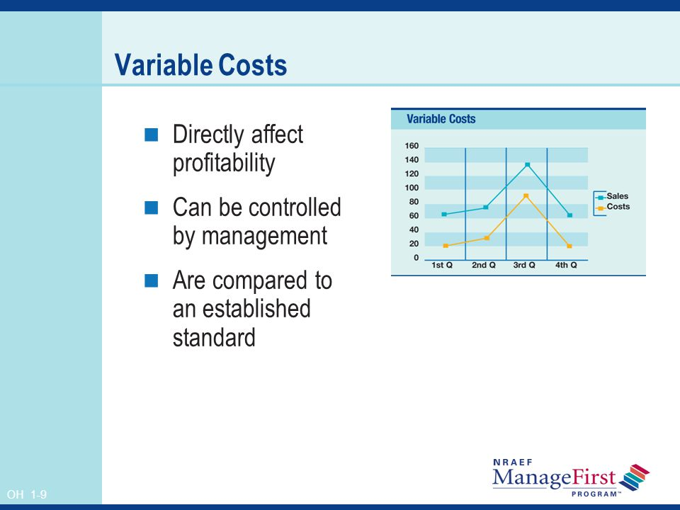 Variable Costs Directly affect profitability