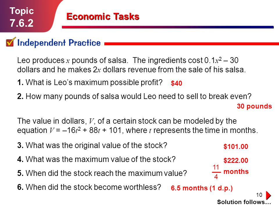 7.6.2 Topic Economic Tasks Independent Practice