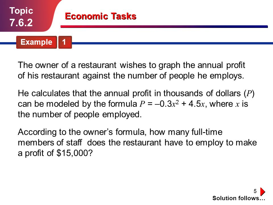 Topic 7.6.2. Economic Tasks. Example 1.