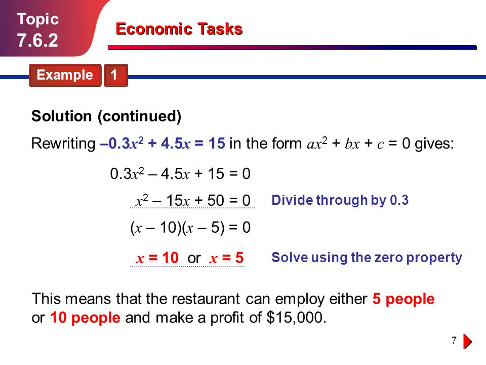 7.6.2 Topic Economic Tasks Solution (continued)