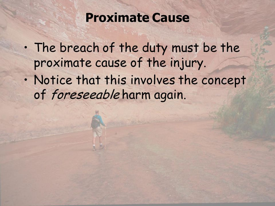 Proximate Cause The breach of the duty must be the proximate cause of the injury.