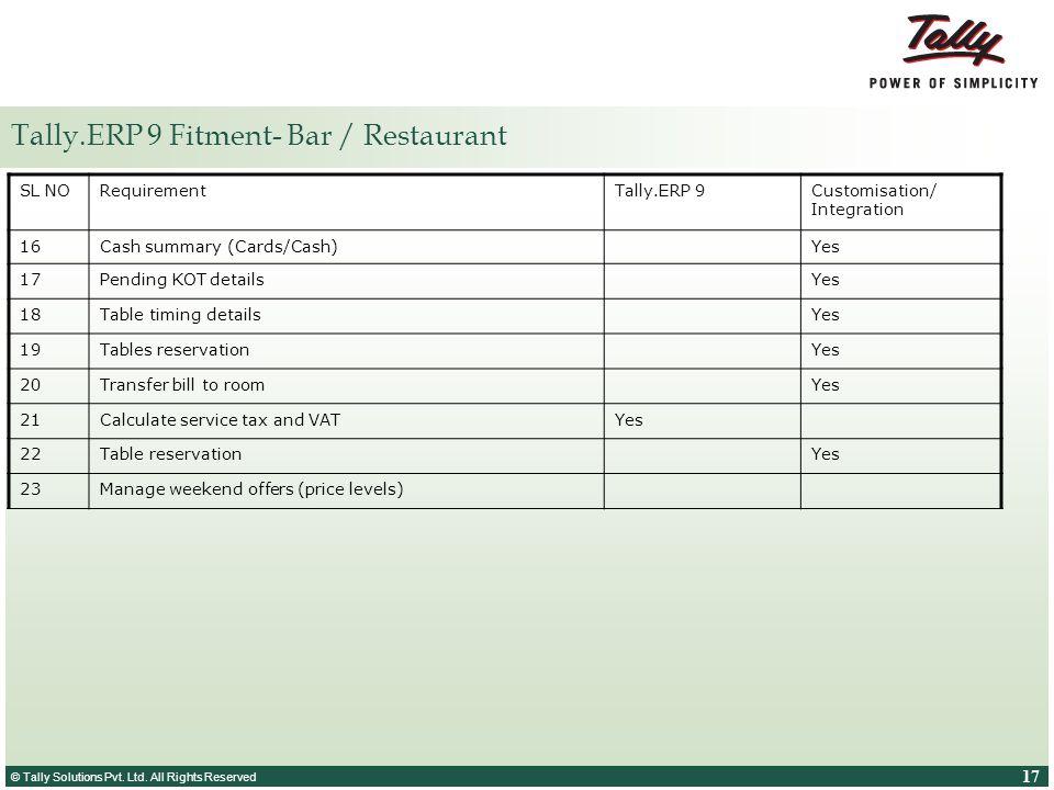 Tally.ERP 9 Fitment- Bar / Restaurant