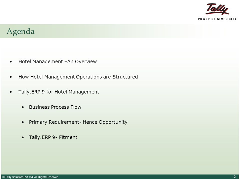 Agenda Hotel Management –An Overview