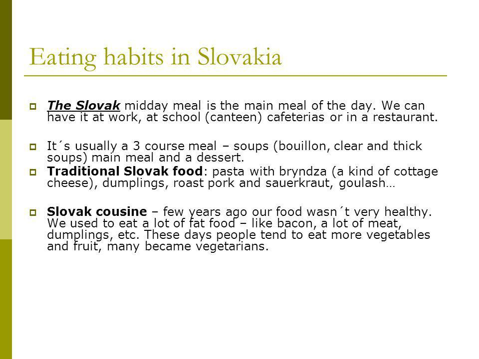 Eating habits in Slovakia