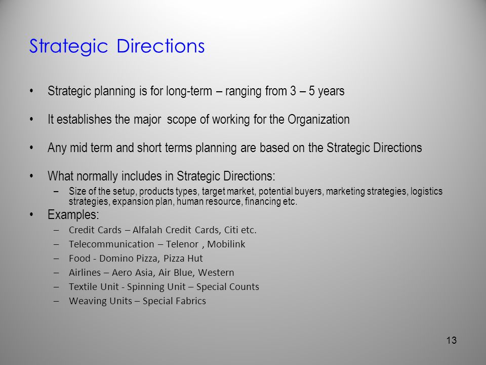 Strategic Directions Strategic planning is for long-term – ranging from 3 – 5 years. It establishes the major scope of working for the Organization.