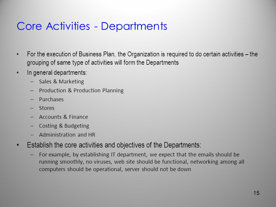 Core Activities - Departments