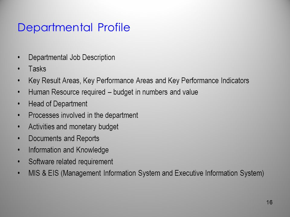 Departmental Profile Departmental Job Description Tasks
