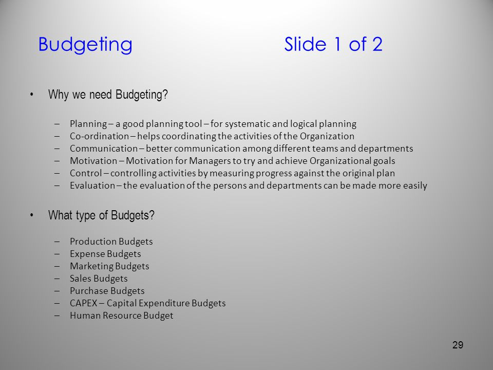 Budgeting Slide 1 of 2 Why we need Budgeting What type of Budgets