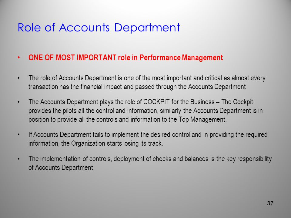 Role of Accounts Department