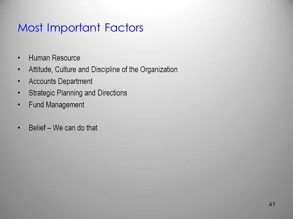 Most Important Factors