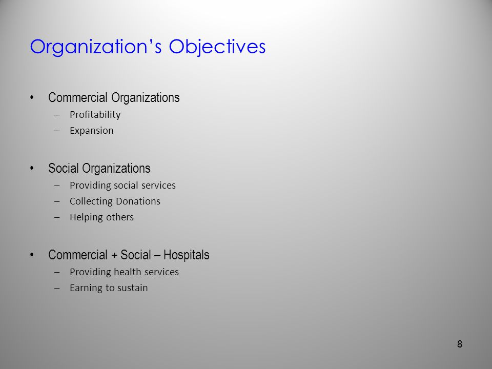 Organization's Objectives