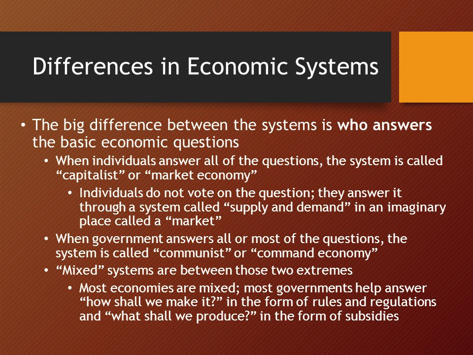 Differences in Economic Systems