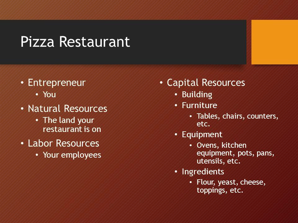 Pizza Restaurant Entrepreneur Natural Resources Labor Resources