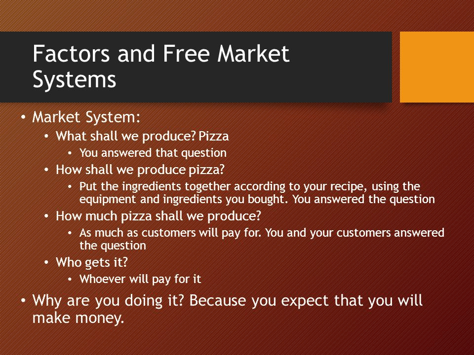 Factors and Free Market Systems