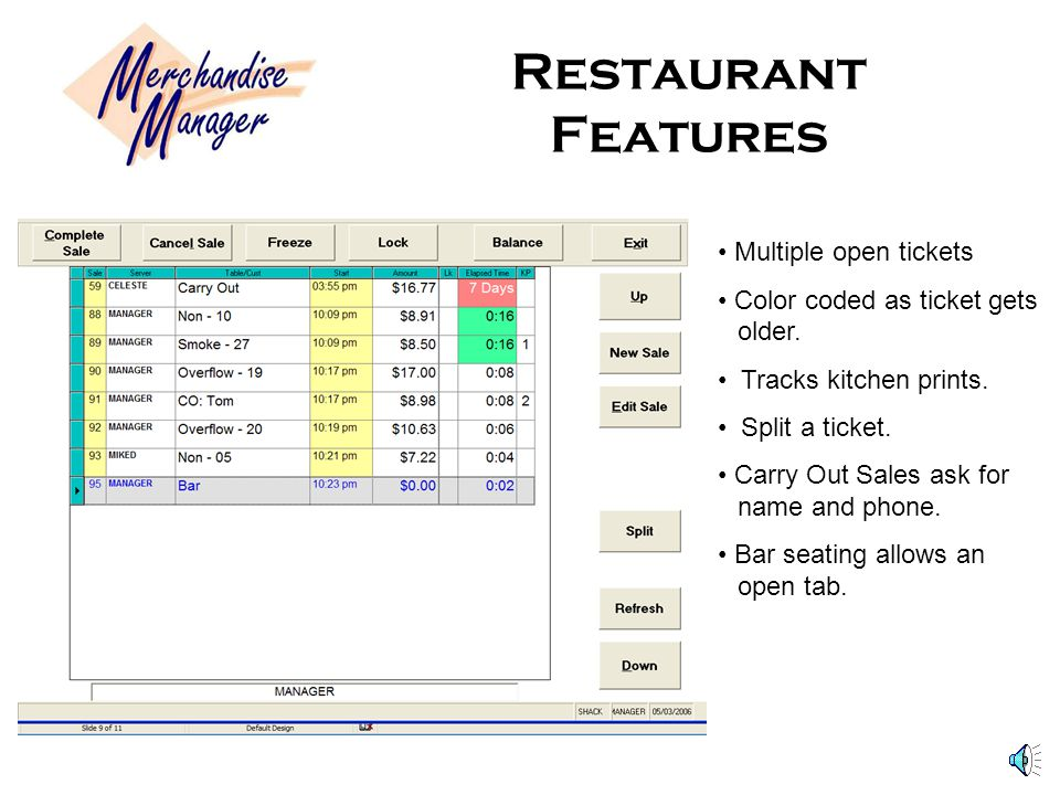 Restaurant Features Multiple open tickets