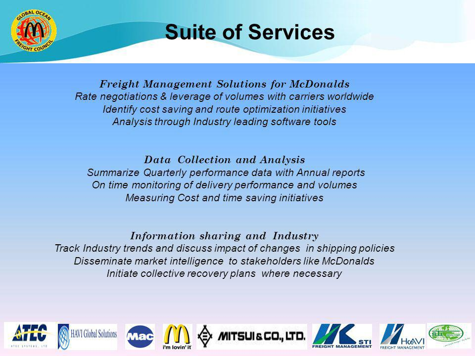 Suite of Services Freight Management Solutions for McDonalds