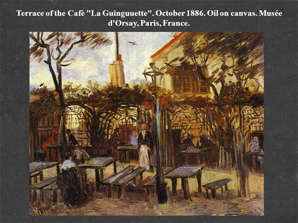 Terrace of the Cafè La Guinguuette . October 1886. Oil on canvas