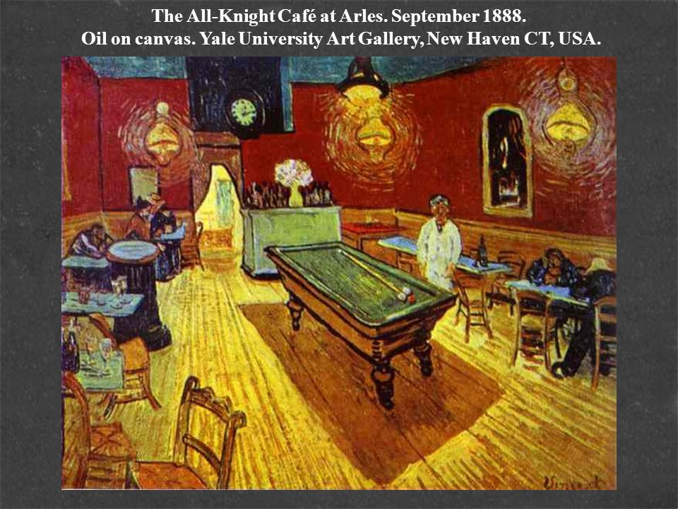 The All-Knight Café at Arles. September 1888. Oil on canvas