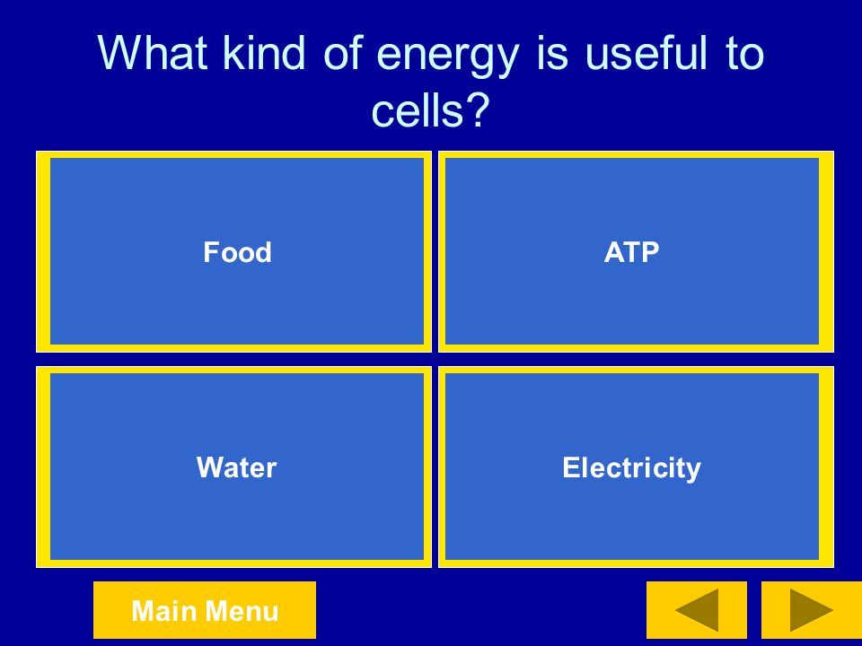 What kind of energy is useful to cells
